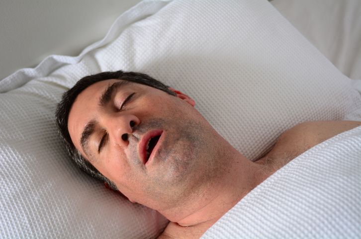 Man In His Forties 40s Snoring Bed With Type 2 Diabetes And OSA