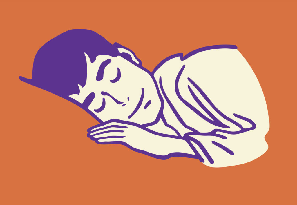 A sleeping man on an orange background, to suggest hypersomnia in the daytime hours.