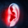 An isolated ear with a swimmer's ear infection.