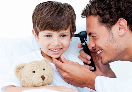Children ear infections, otoscope