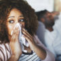 A woman experiences night time nasal congestion.